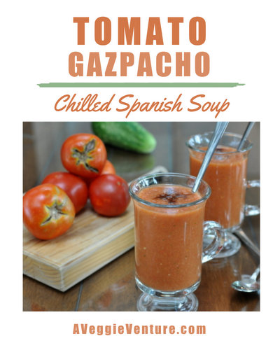 How to make Tomato Gazpacho, the classic chilled Spanish summer soup ♥ AVeggieVenture.com. Great for Meal Prep. Weight Watchers Friendly. Low Carb. Vegan.
