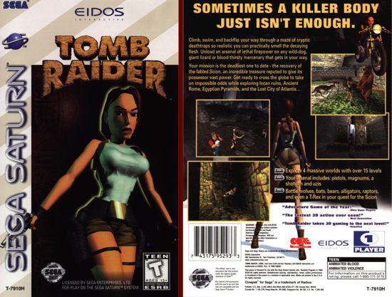 Tomb Raider US box, front/back cover