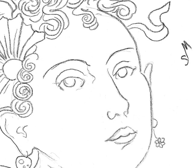 art, arte, woman, flowers, ribbons, kunst, drawing, minimal, sketch, dessin, dibujo, minimalist, minimalism, contemporary, line, line-drawing, fashion, simple, sarah, myers, ringlets, curls, streamers, earrings, face, head, eyes, contemporary, detail, close-up, mouth, hair