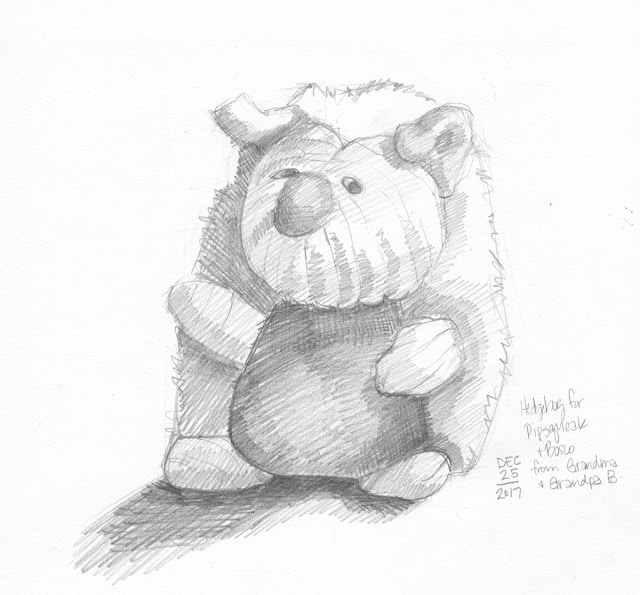 Daily Art 12-25-17 still life sketch in graphite number 83 - new hedgehog toy