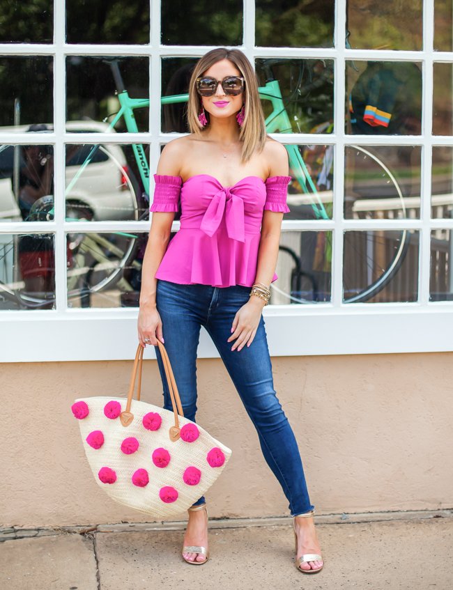 nordstrom socialite pink smocked off the shoulder top