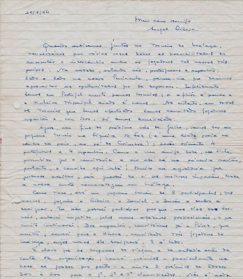 Carta de Joâo da Moura  a Ángel Ribera, 1954 (1)
