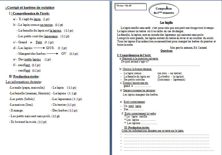 اختبارات السنة الرابعة ابتدائي في مادة الفرنسية