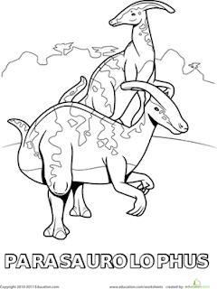 Herbivora Dinosaur Parasaurolophus Coloring Pages