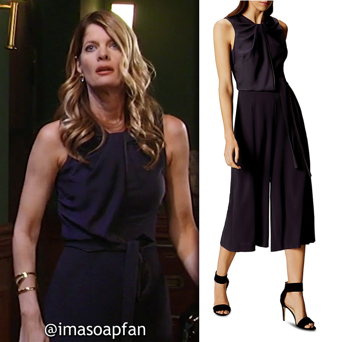 Nina Reeves, Michelle Stafford, Navy Blue Wide-Leg Jumpsuit, Karen Millen, GH, General Hospital, Season 55, Episode 05/18/17