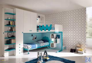 habitación turquesa para joven