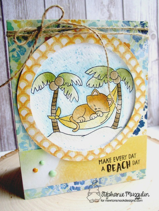 Cat in Hammock Tropical Beach Card by Stephanie Muzzulin | Aloha Newton Stamp set by Newton's Nook Designs #newtonsnook