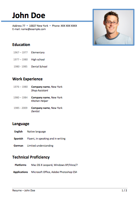Doc666708 Simple Resume Format in Word Simple Resume Format – Microsoft Word Biography Template