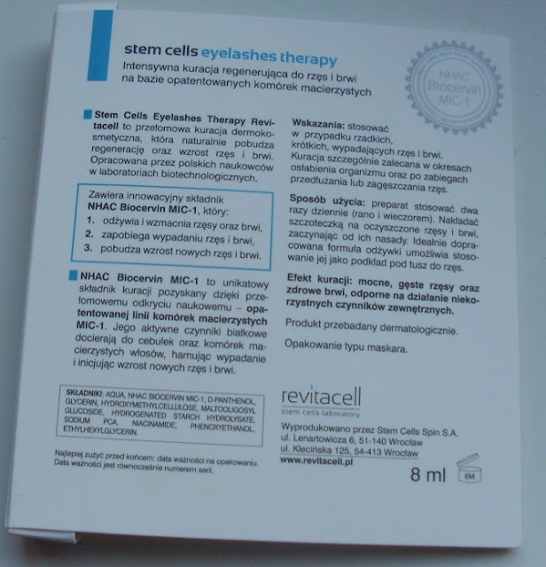 Revitacell Stam Cells eyelashes therapy NHAC Bicervin MIC-1- kuracja do rzęs