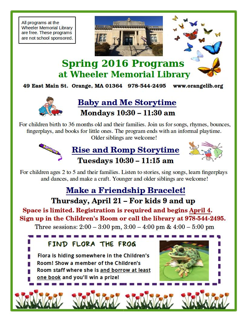 Check Out Our Regular Childrens Programs For The Spring