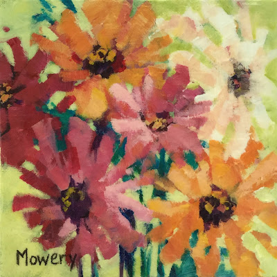 Acrylic painting of pink, red, and orange zinnias by Maryland artist Barb Mowery