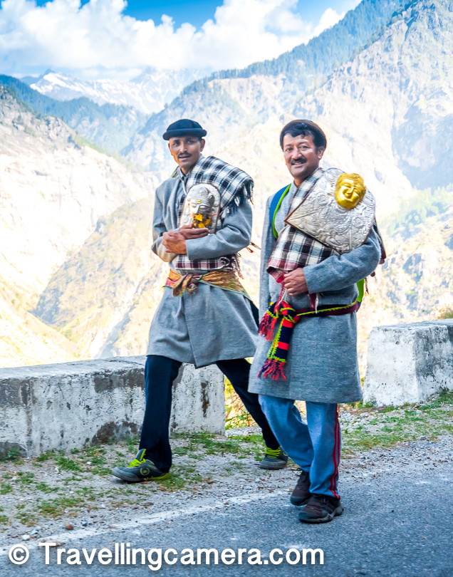 Above photograph shows 2 men in Kinnauri dress and carrying devtas with them. This photograph was clicked from moving car. In hills, there is very high probability of finding smiling people and that makes your trip more joyful.