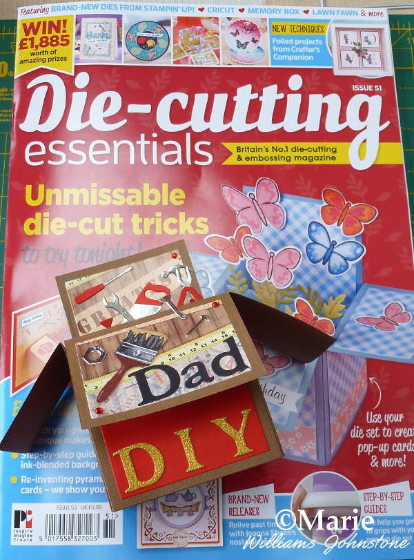Die Cutting Essentials Magazine Issue 51 and Finished Handmade Pop Up Box Card DIY Dad Father's Day Tools Men Man