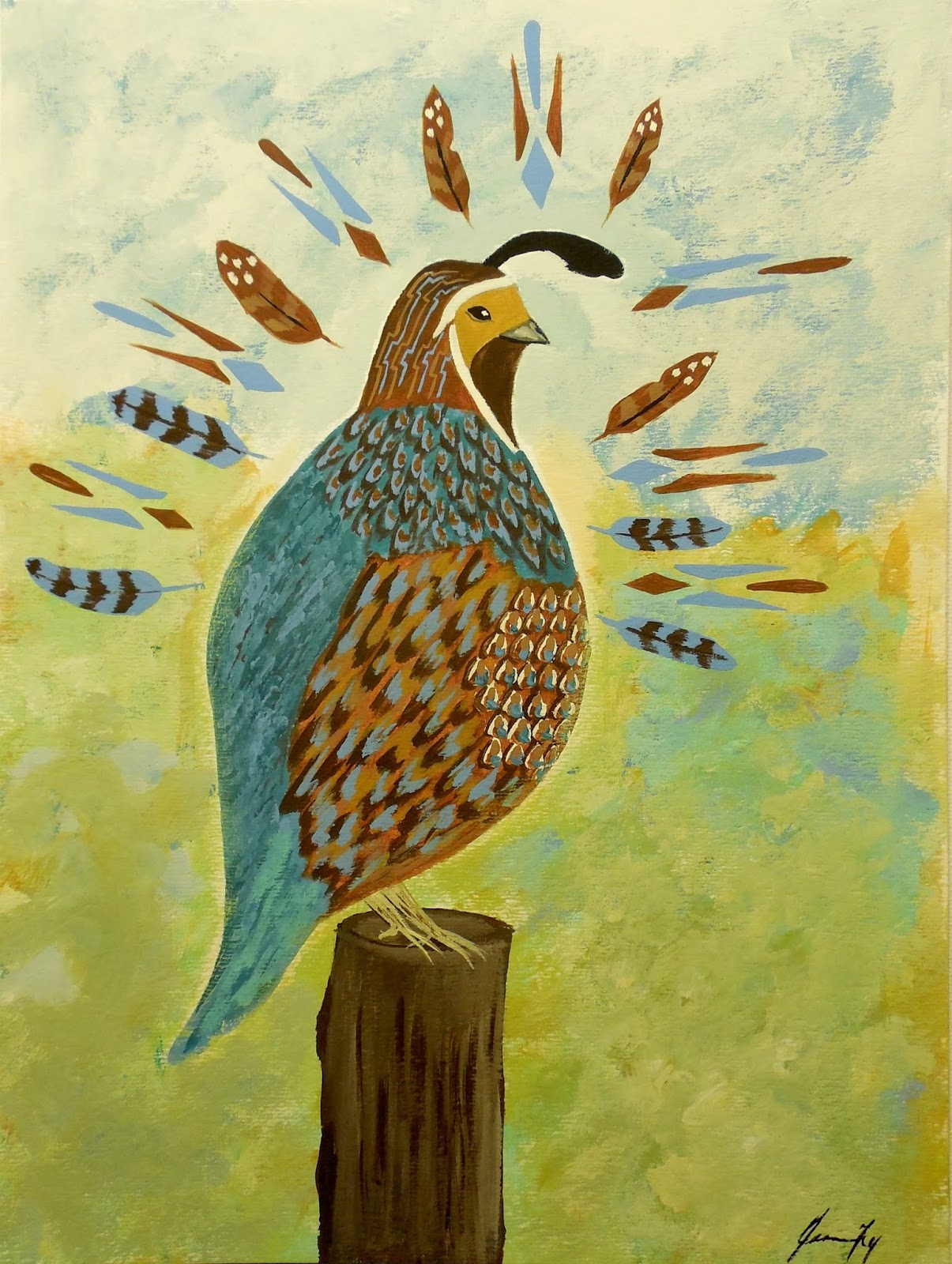 Conscious art studios quail totem symbolic meaning quail totem painting by jeanne fry is available buycottarizona