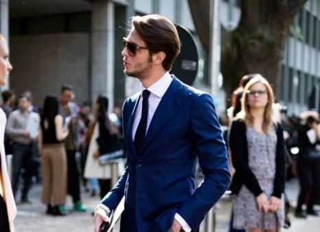 Mens Fashion Grey Colour Pants Dark Blue Jacket Combination For
