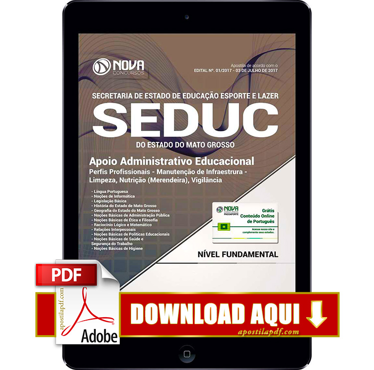 Apostila SEDUC MT 2017 PDF Download Apoio Administrativo Educacional