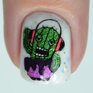 cactus dj nail art