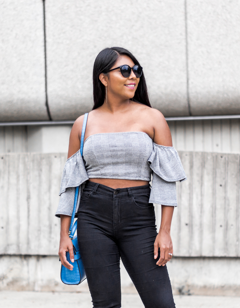 plaid-off-shoulder-crop-top