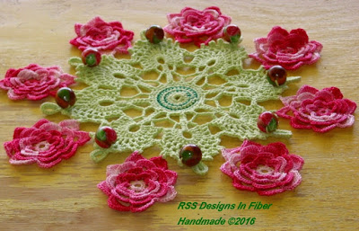 Beaded Cluny Lace Pink Irish Rose Doily By RSS Designs In Fiber