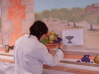 trompe-l'oeil, fresque, peinture, coupe de fruits