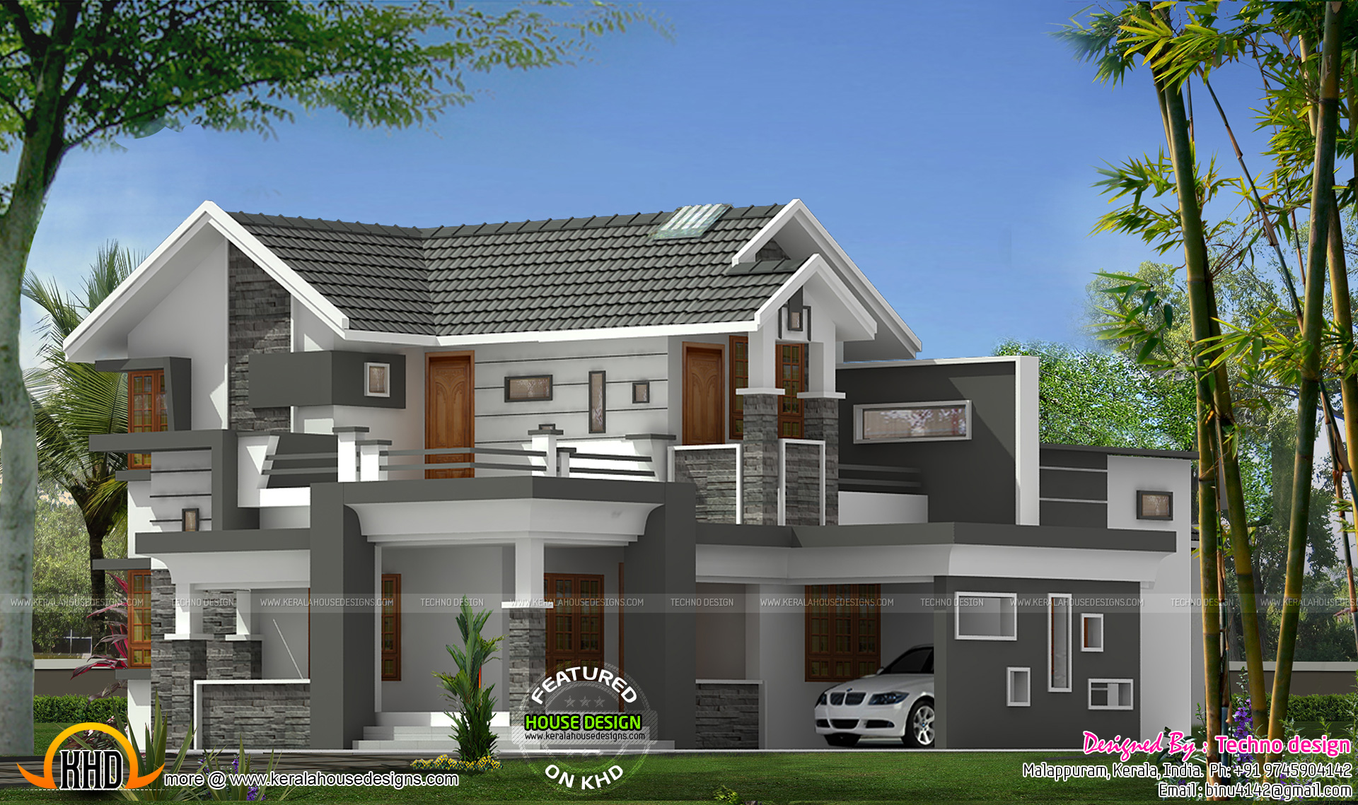 Sloped roof with modern mix house kerala home design and for Modern kerala style house plans with photos