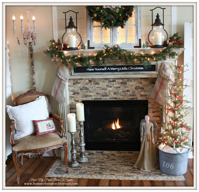Carriage House Lanterns-French Country-Farmhouse-Christmas Mantel 2015-From My Front Porch To Yours
