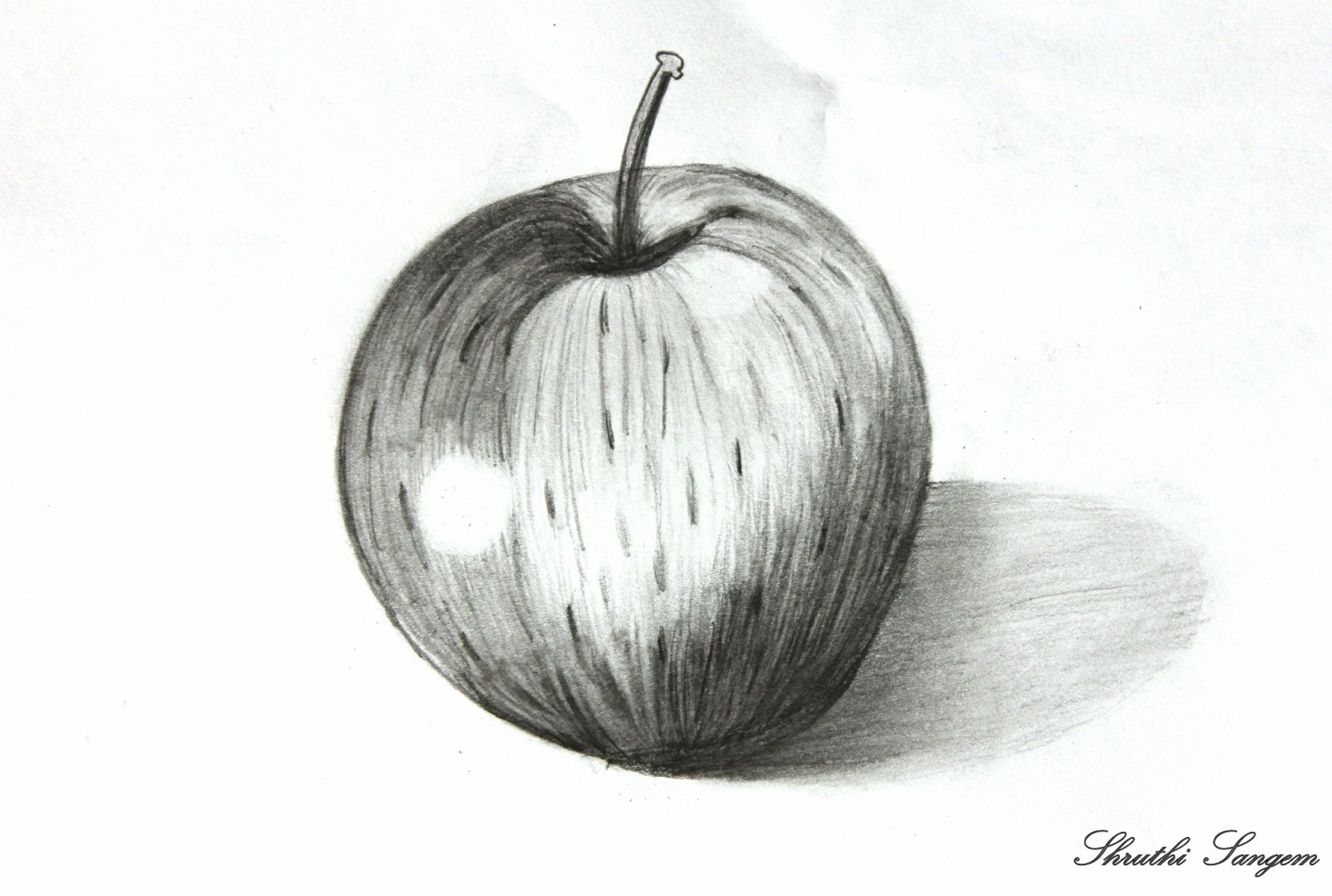 Art and craft pencil sketch apple