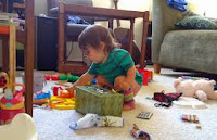 Squat to pick up and put away toys