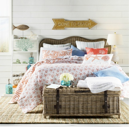 Beach Bedroom with Wicker Headboard