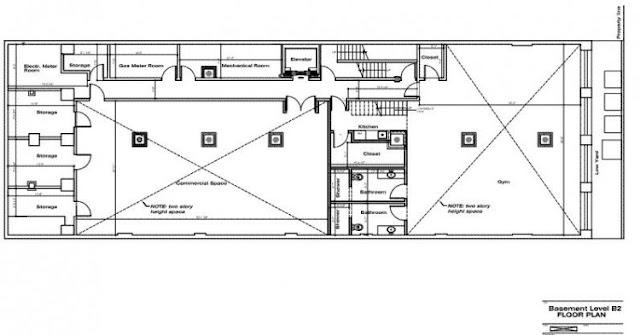 Floor plan of the basement level in the Tribeca triplex