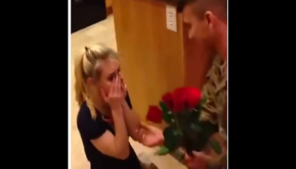 A woman was surprised when her boyfriend made a surprise appearance.