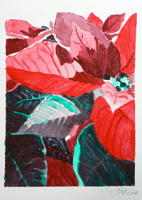 Napthol Red and Pthalogreen Poinsettia leaves, ©2018 Tina M. Welter