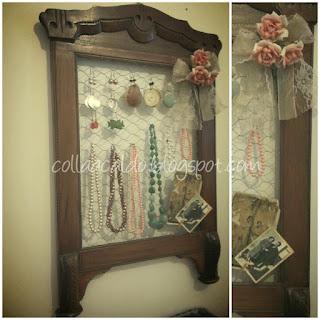 Riciclo creativo vecchia cornice:porta bijoux retrò