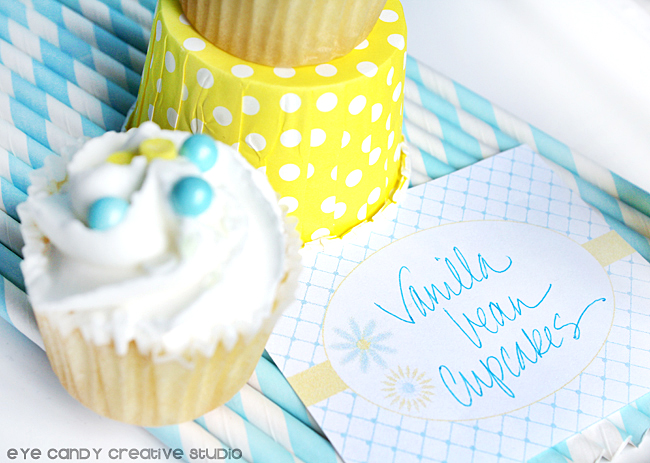 blue striped straws, cupcake, yellow cup, vanilla bean cupcakes, freebie