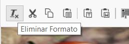 Opción de algunos editores Eliminar formato del texto seleccionado.