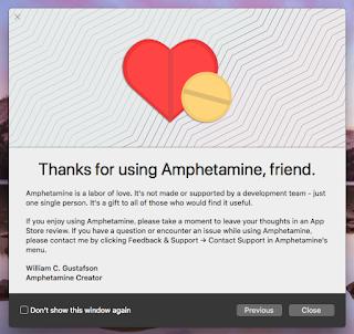 Amphetamine 使ってくれてありがとうの画面
