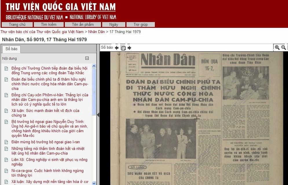 Báo Nhân Dân số 9019 ra ngày 17 tháng 2 năm 1979 không có dòng nào về cuộc  chiến. Ở vị trí trang trọng nhất của trang 1 là tin Đoàn đại ...
