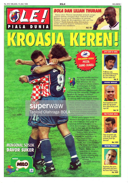 ZVONIMIR BOBAN DAVOR SUKER OF CROATIA WORLD CUP 1998