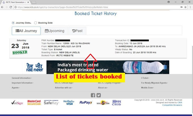 Picture of list of tickets on booked ticket history page