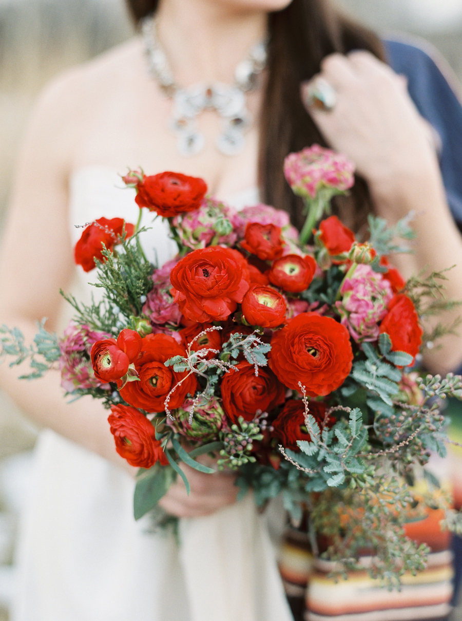 Red Flowers / Photography: Orange Photographie / Styling & Flowers: Katalin Green / Hair & Makeup: Alexa Mae / Necklace & Ring: Mountainside Designs / Location: Bozeman, MT