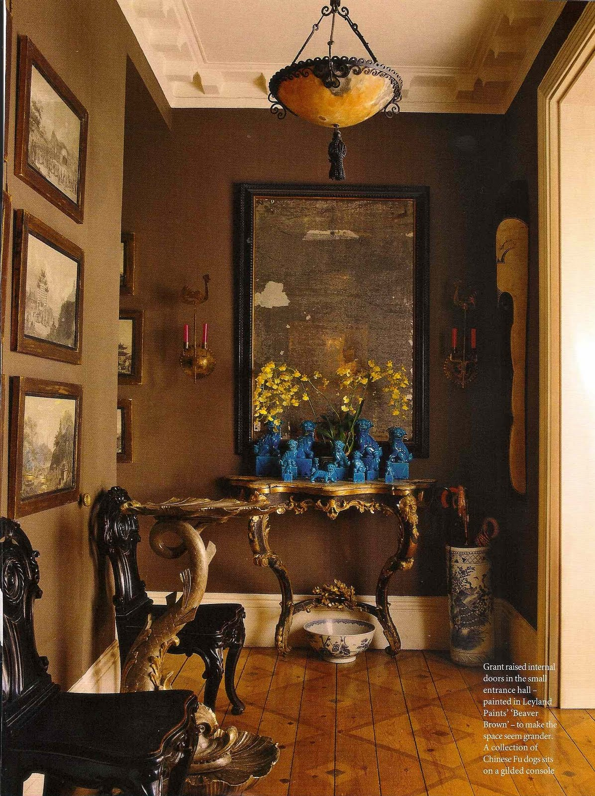 Mark Montano Inspiration Dark Brown Walls Blue Accents