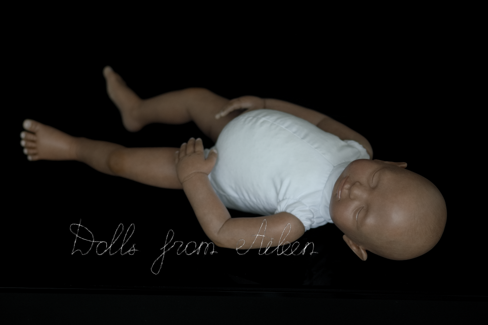ooak baby girl doll sleeping, with white cotton body