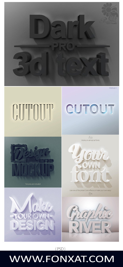 Download PSD template preview or three-dimensional text effects MOUK UP