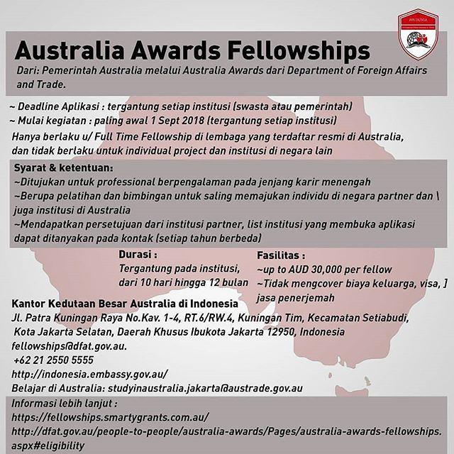 Beasiswa Australian Awards Fellowships 2018