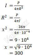 Hubungan intensitas bunyi dan jarak sumber bunyi, I = P/(4πR^2 )
