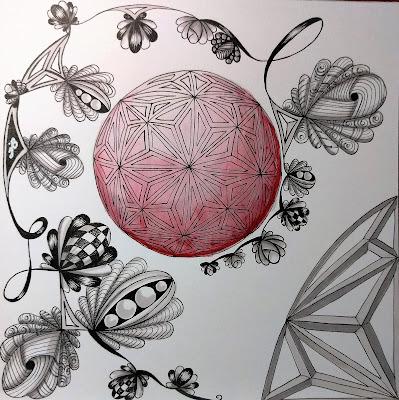 zentangle abeko phroz red gray shading