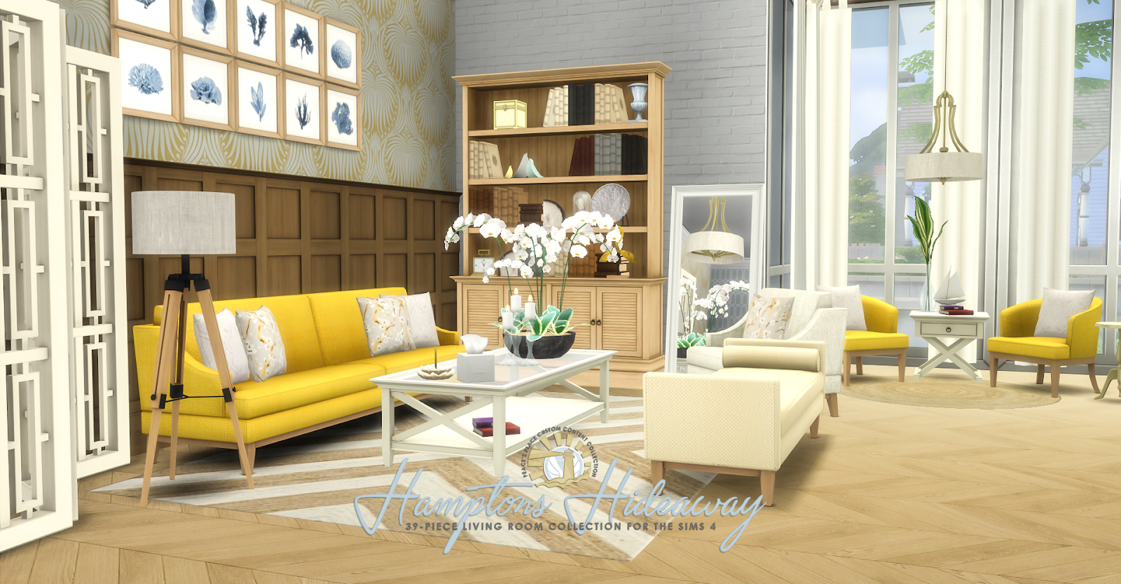 Simsational designs hamptons hideaway living room set for Rooms 4 kids