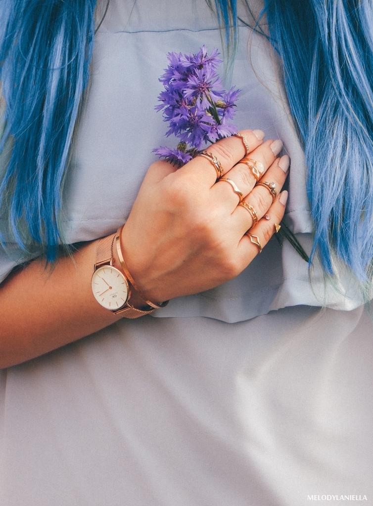 9 daniel wellington ootd lookbook fashion blogger modowe blogerki z łodzi melodylaniella blue hair niebieskie włosy baby blue hiszpanka venita błękitna sukienka stylizacja outfit modna polka pastel hair