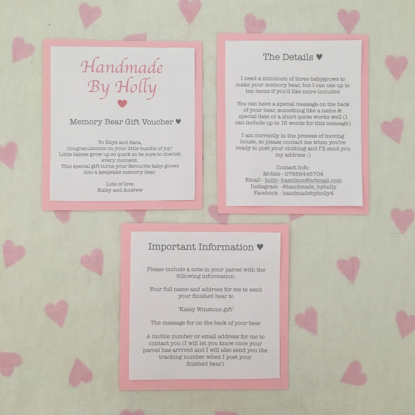 Memory Bear Gift Voucher £30 | Handmade by Holly