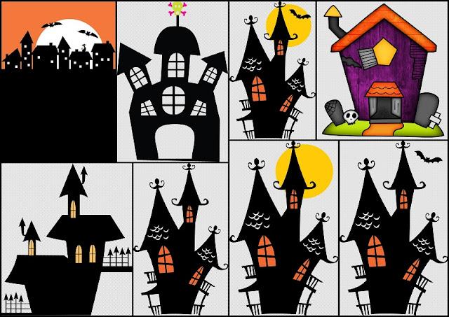 Clipart de Casas Encantadas para Halloween.